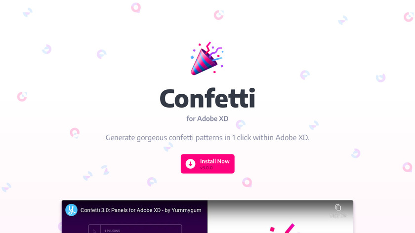 Confetti for Adobe XD Landing Page