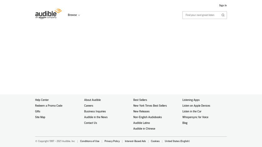 Channels by Audible Landing Page