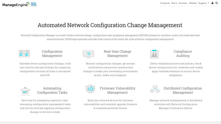 ManageEngine Network Configuration Manager Landing Page