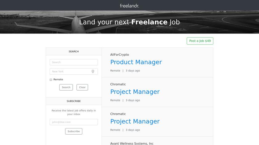 Freelandr Landing Page