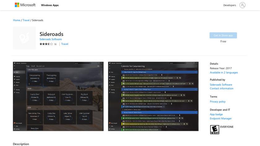 Sideroads Landing Page