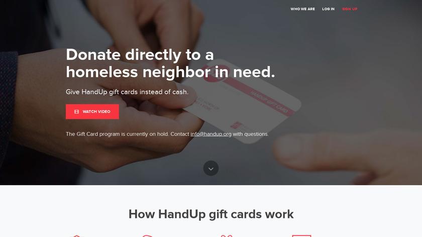 HandUp Gift Cards Landing Page