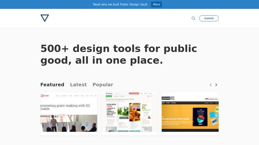 Public Design Vault Landing Page