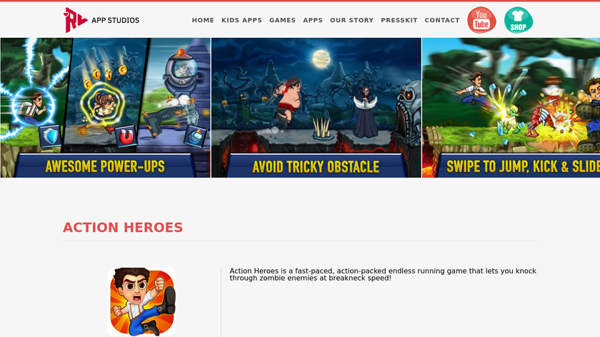 Action Heroes Landing Page