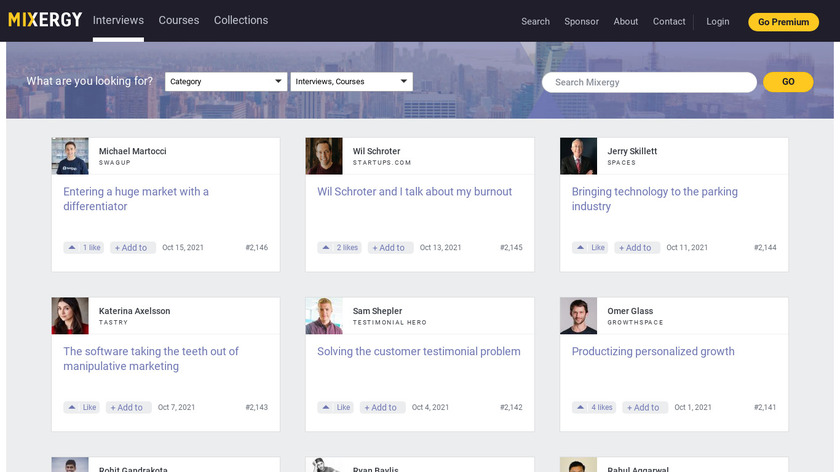 Mixergy Startup Stories Landing Page