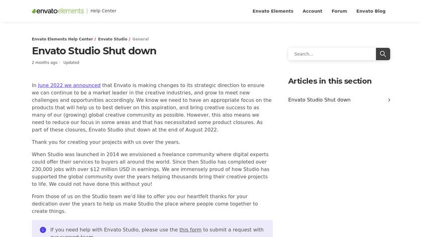 Envato Studio Landing Page