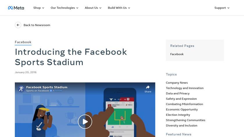 Facebook Sports Stadium Landing Page