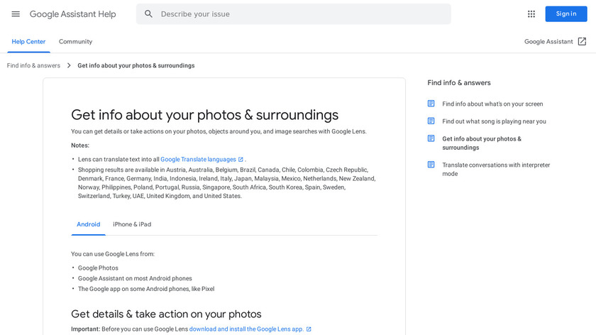 Google Lens Landing Page