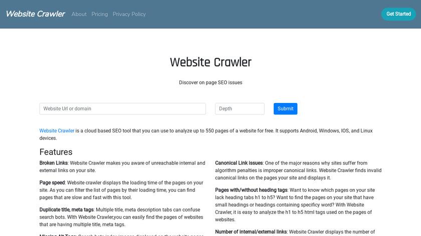 Website Crawler Landing Page