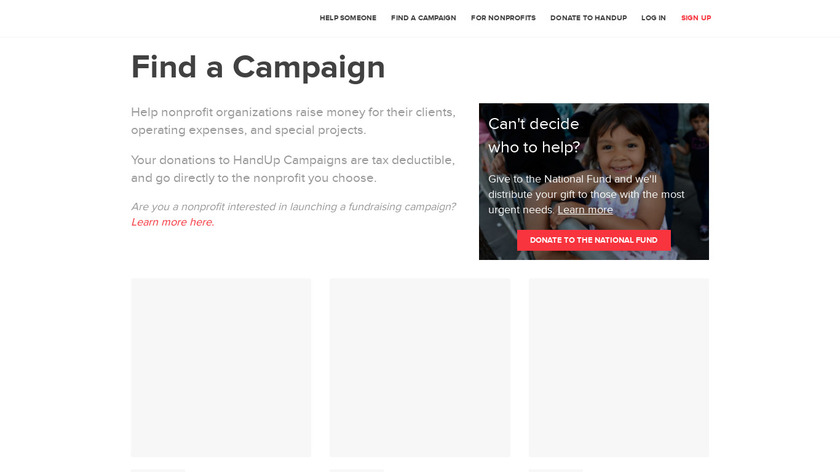 HandUp Campaigns Landing Page