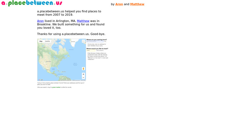 a.placebetween.us Landing Page