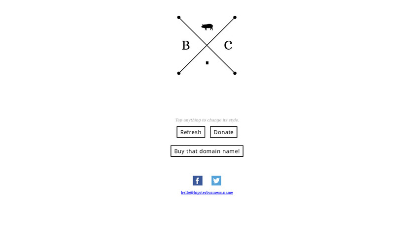 Hipster Business Name Landing Page