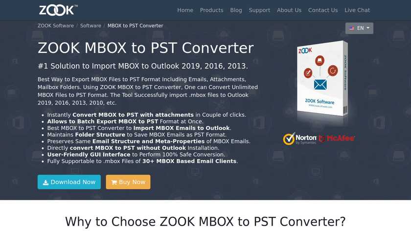 ZOOK MBOX to PST Converter Landing Page