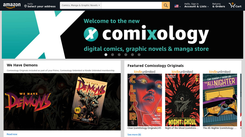 Comixology Unlimited Landing Page