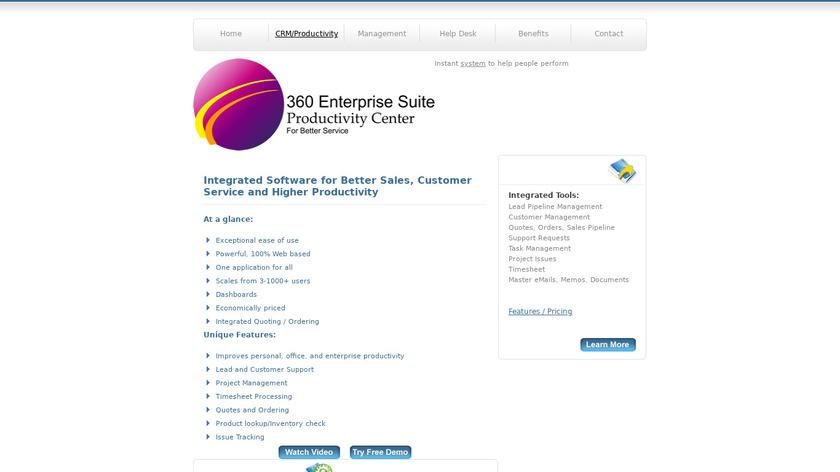 360 Enterprise Suite Landing Page