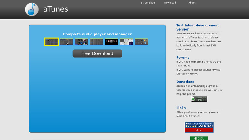 aTunes Landing Page