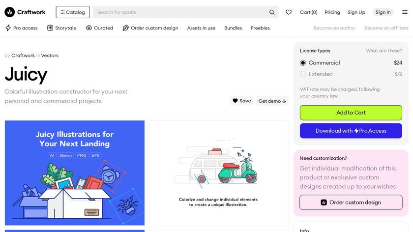 Juicy Illustrations Landing Page