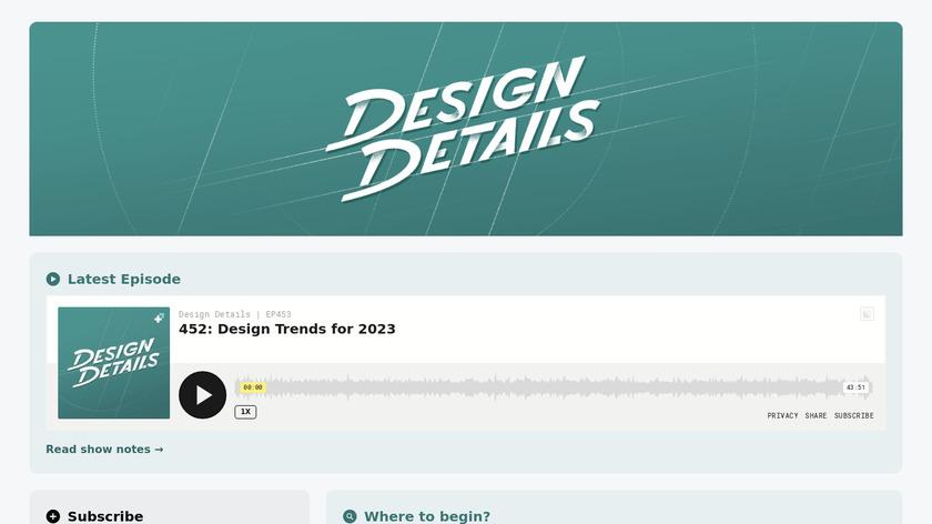 Design Details Podcast Landing Page