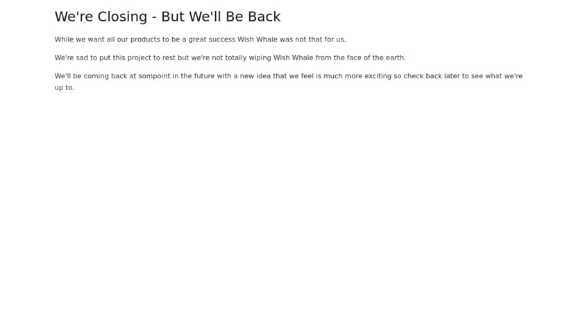 Wish Whale Landing Page