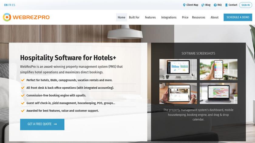 WebRezPro Landing Page