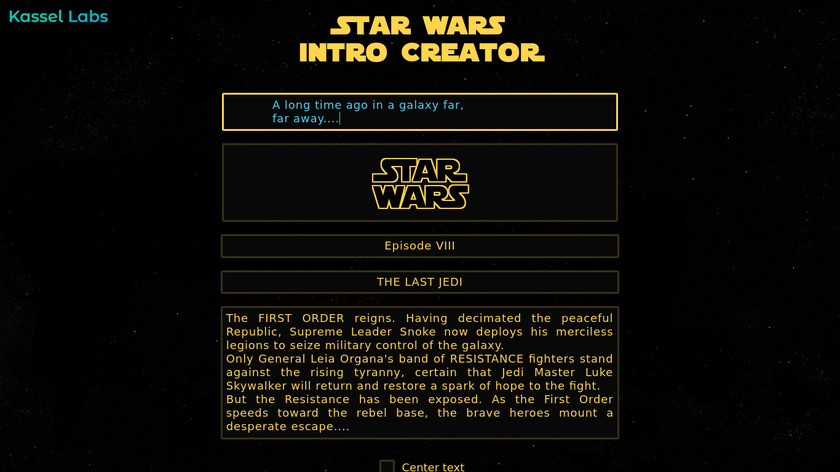 Star Wars Intro Creator Landing Page