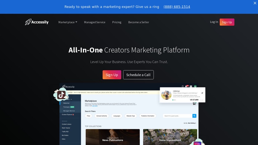 Accessily - Guest Posts Marketplace Landing Page