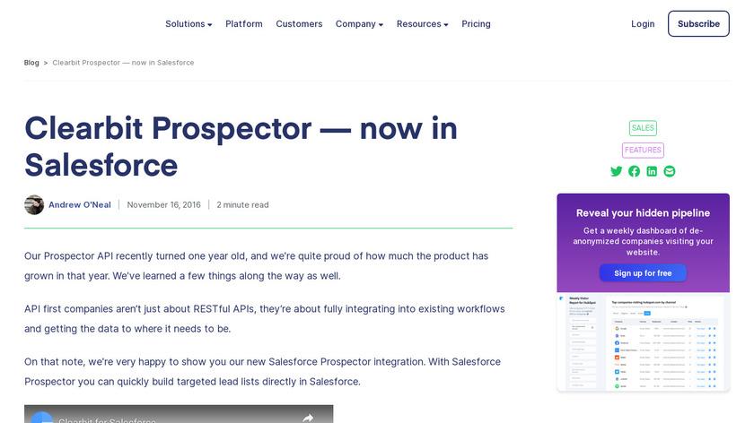Clearbit Salesforce Prospector Landing Page