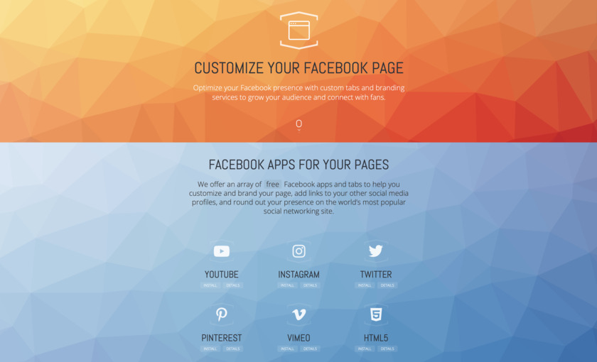 Facebook Apps and Tabs Landing Page