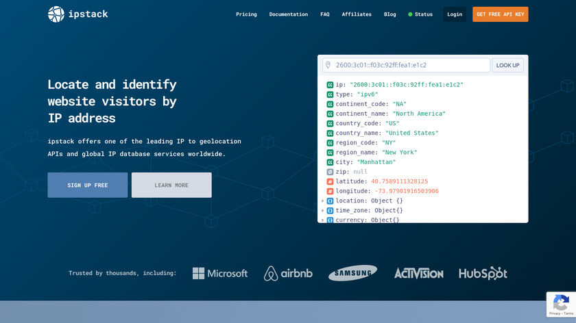 ipstack Landing Page