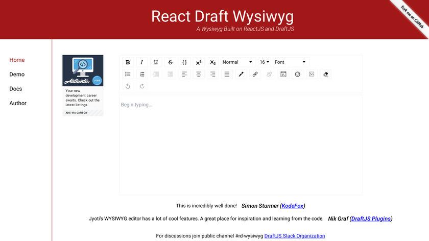 React Draft Wysiwyg Landing Page