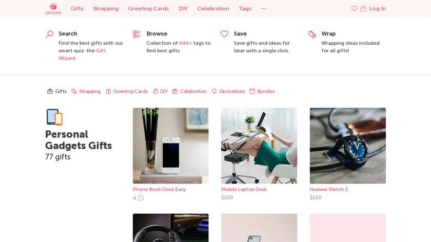 Giftopix Landing Page