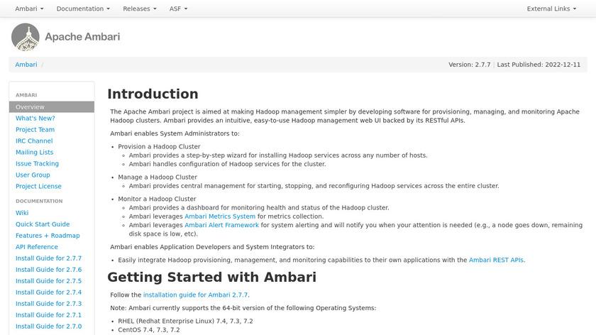 Apache Ambari Landing Page