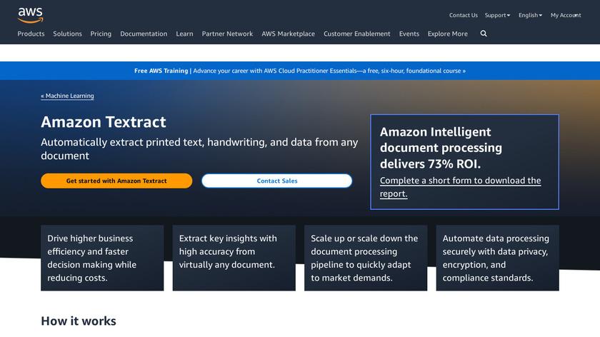Amazon Textract Landing Page