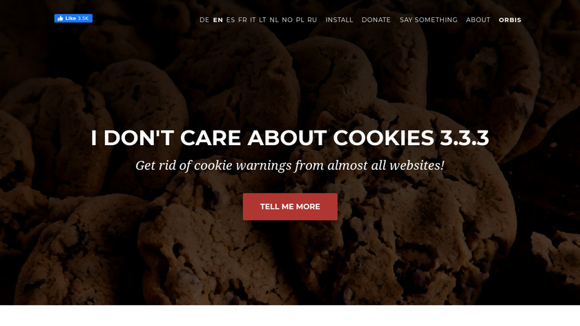 I don't care about cookies Landing Page