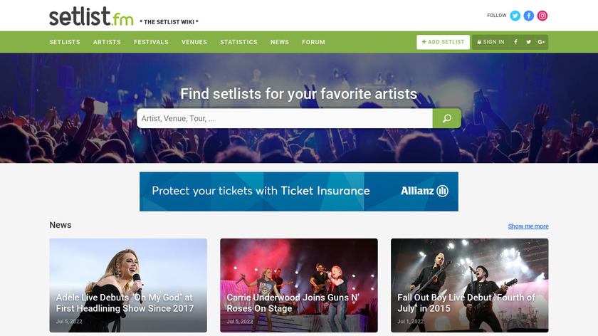 setlist.fm Landing Page