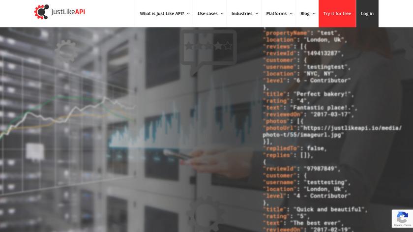 justLikeAPI Landing Page