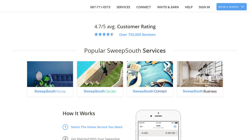 SweepSouth Landing Page