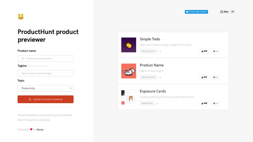 tcodina.com Product Hunt Previewer Landing Page
