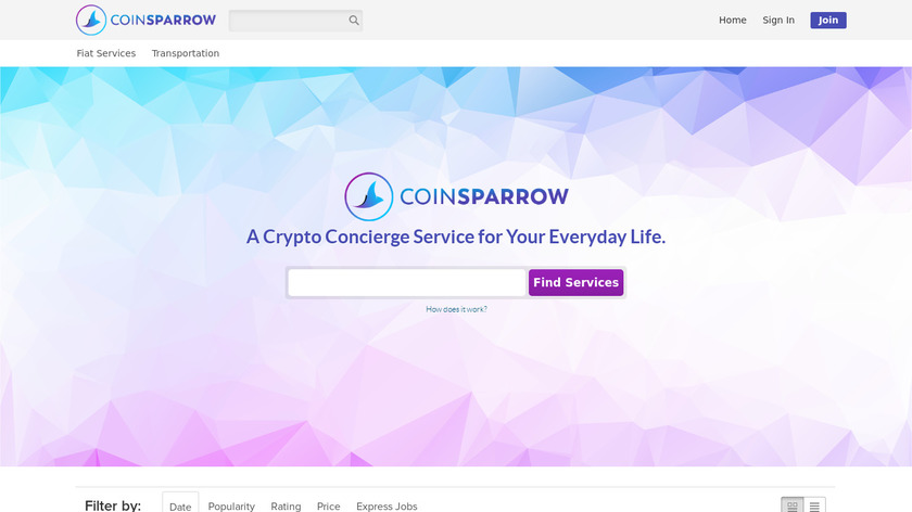 CoinSparrow Landing Page