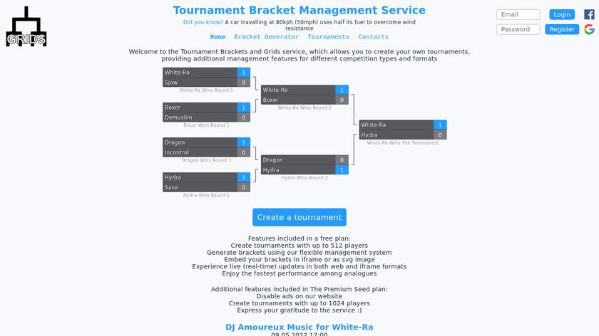 Tournament Bracket Management Service Landing Page