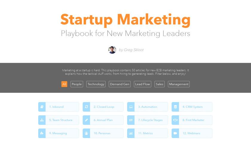 Startup Marketing Playbook Landing Page