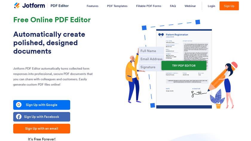JotForm PDF Editor Landing Page