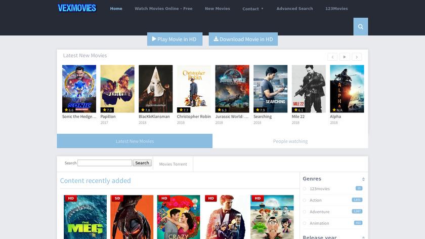 Vexmovies Landing Page