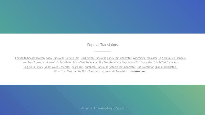 LingoJam Landing Page