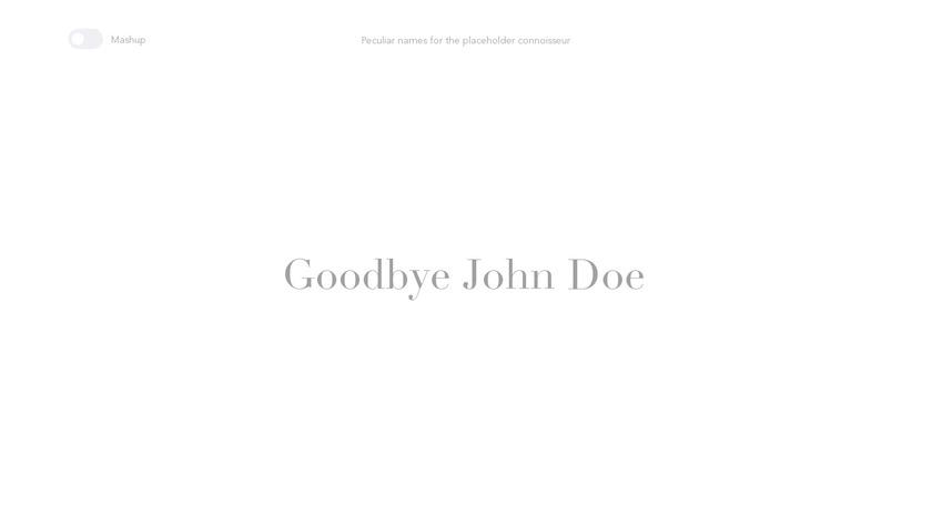 Goodbye John Doe Landing Page