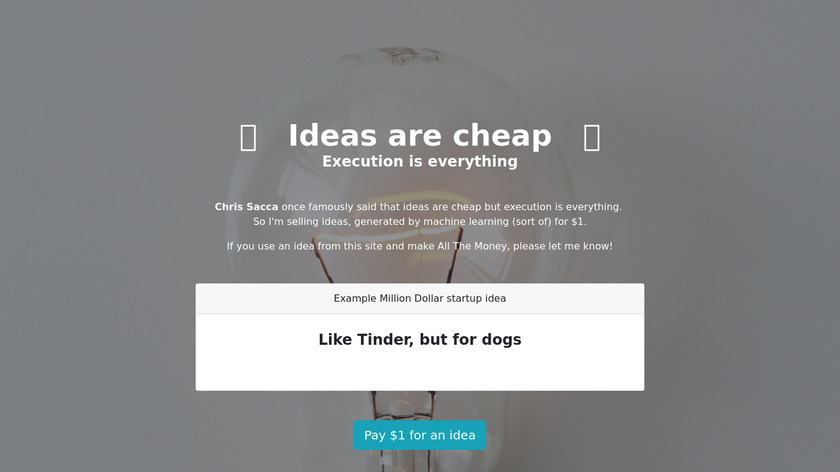 Ideas are Cheap Landing Page