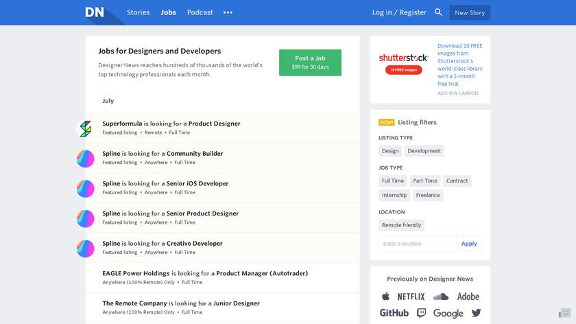 Designer News Jobs Landing Page