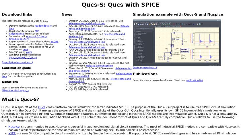 Qucs-S Landing Page