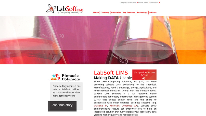 LabSoft LIMS Landing Page