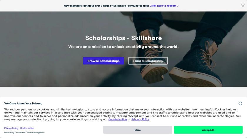 Skillshare Scholarships Landing Page